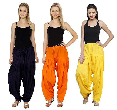 COMBOS  - Blue And Orange And Yellow Color Cotton Stitched Women Patiala Pants - blue_orange_yellow
