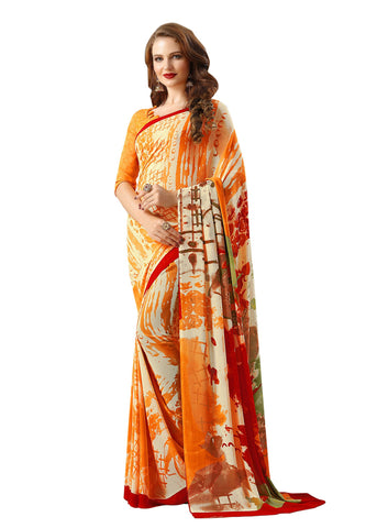 Orange Color Georgette Mix and Match Saree - bold-impressions-4001a
