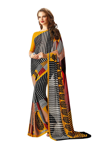Yellow Color Georgette Mix and Match Saree - bold-impressions-4002a