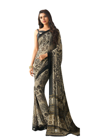 Black Color Georgette Mix and Match Saree - bold-impressions-4003a