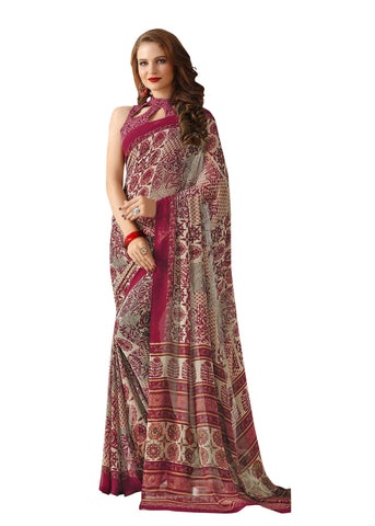 Red Color Georgette Mix and Match Saree - bold-impressions-4003b