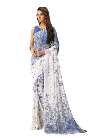 White Color Georgette Mix and Match Saree - bold-impressions-4004a