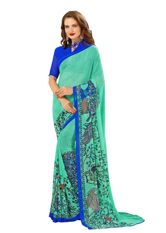 Blue Color Georgette Mix and Match Saree - bold-impressions-4005a