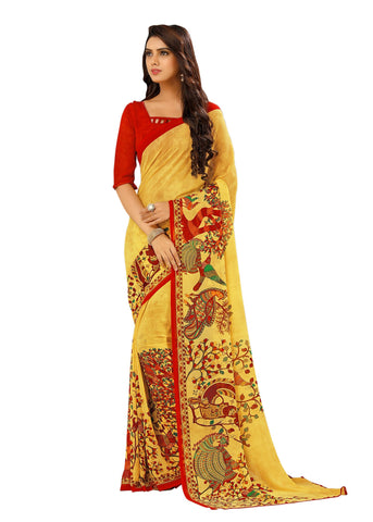 Yellow Color Georgette Mix and Match Saree - bold-impressions-4005b