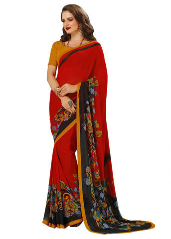 Red Color Georgette Mix and Match Saree - bold-impressions-4006b