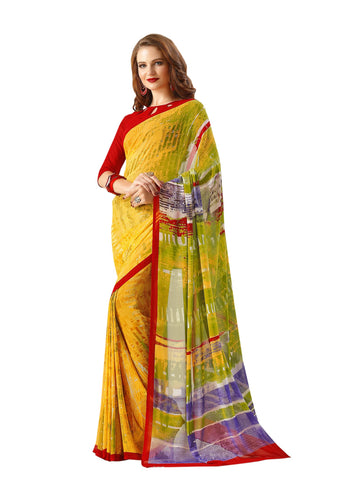 Yellow Color Georgette Mix and Match Saree - bold-impressions-4008a