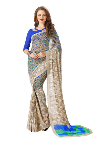 Blue Color Georgette Mix and Match Saree - bold-impressions-4009b