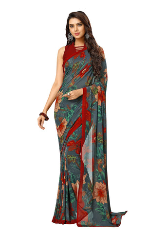Blue Color Georgette Mix and Match Saree - bold-impressions-4010a
