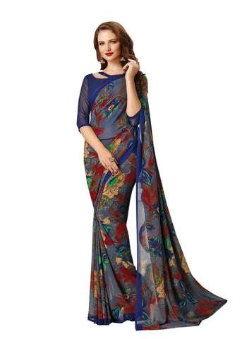 Blue Color Georgette Mix and Match Saree - bold-impressions-4010b