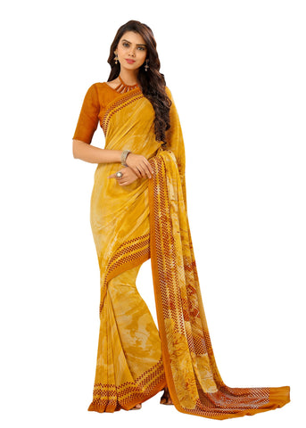 Yellow Color Georgette Mix and Match Saree - bold-impressions-4011a