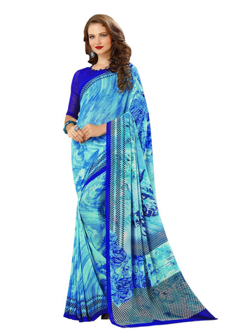 Blue Color Georgette Mix and Match Saree - bold-impressions-4011b