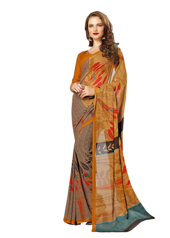 Yellow Color Georgette Mix and Match Saree - bold-impressions-4012b