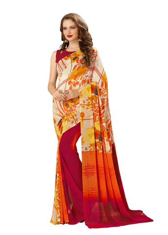Yellow Color Georgette Mix and Match Saree - bold-impressions-4013a