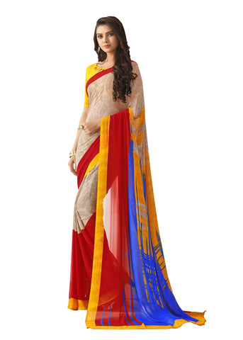 Yellow Color Georgette Mix and Match Saree - bold-impressions-4014a