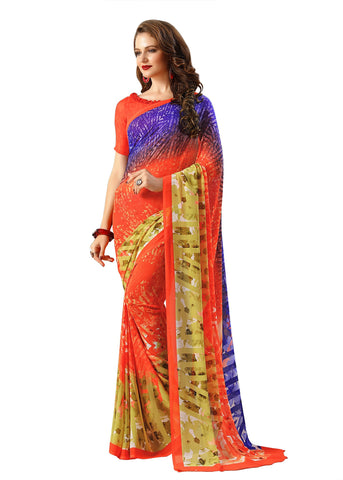 Red Color Georgette Mix and Match Saree - bold-impressions-4015a