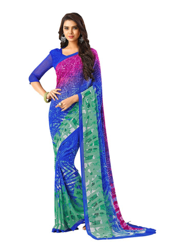 Blue Color Georgette Mix and Match Saree - bold-impressions-4015b