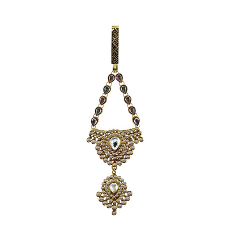 Multi Color Brass Stone Stud-Gold Platted Waist Key Chain - bro1001
