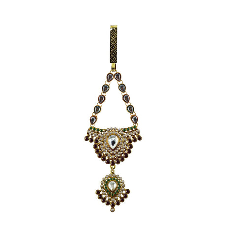 Multi Color Brass Stone Stud-Gold Platted Waist Key Chain - bro1005