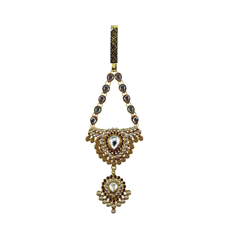 Multi Color Brass Stone Stud-Gold Platted Waist Key Chain - bro1009
