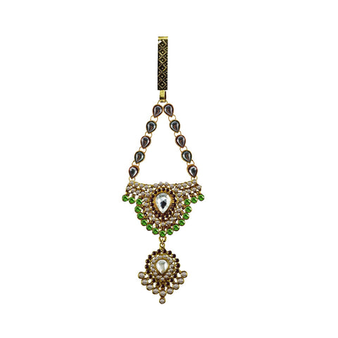 Multi Color Brass Stone Stud-Gold Platted Waist Key Chain - bro1017