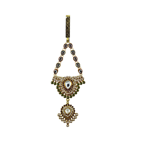 Multi Color Brass Stone Stud-Gold Platted Waist Key Chain - bro1019