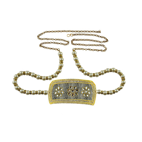 Golden Color Brass Stone Stud-Gold Platted Waist Chain - bro1343