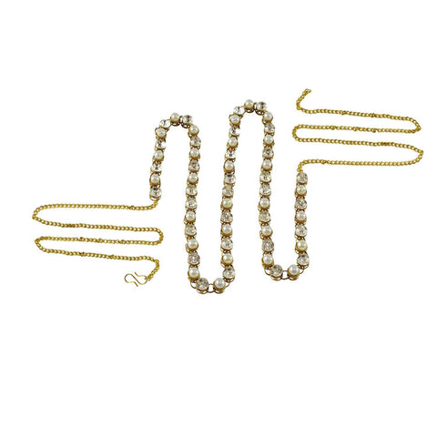 White Color Brass Stone Stud-Gold Platted Waist Chain - bro134