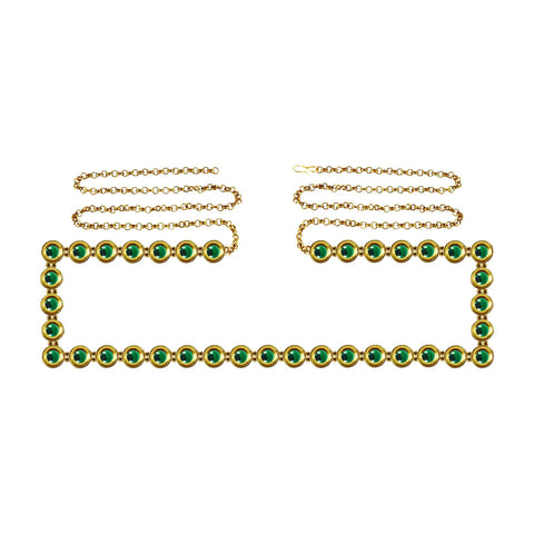 Green Color Brass Kunudun Stud-Gold Platted Waist Chain - bro1375