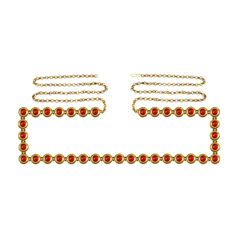 Red Color Brass Kunudun Stud-Gold Platted Waist Chain - bro1376