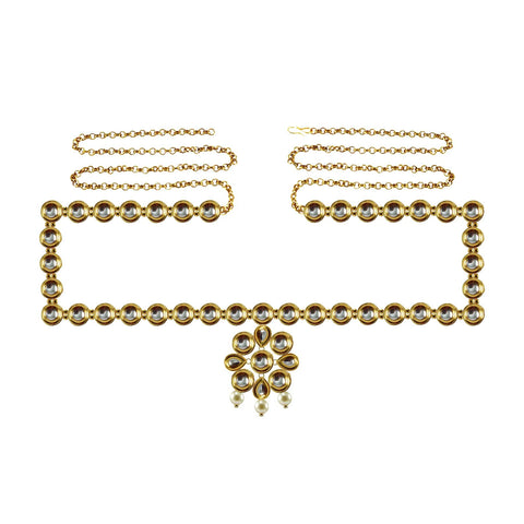 Golden Color Brass Kunudun Stud-Gold Platted Waist Chain - bro1381