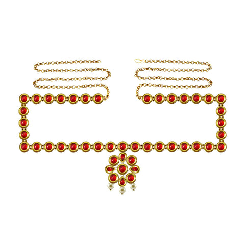 Red Color Brass Kunudun Stud-Gold Platted Waist Chain - bro1382