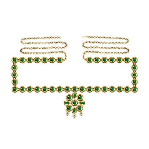 Green Color Brass Kunudun Stud-Gold Platted Waist Chain - bro1383
