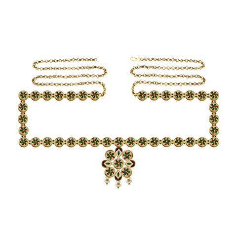 Multi Color Brass Meenakari-Gold Platted Waist Chain - bro1387