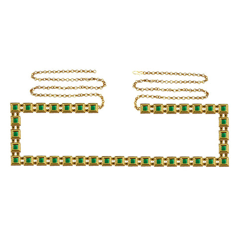 Green Color Brass Kunudun Stud-Gold Platted Waist Chain - bro1389
