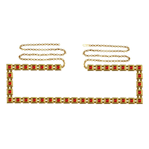 Red Color Brass Kunudun Stud-Gold Platted Waist Chain - bro1390