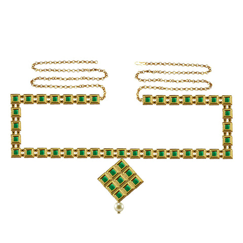 Green Color Brass Kunudun Stud-Gold Platted Waist Chain - bro1396