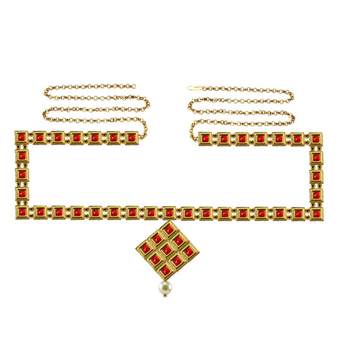 Red Color Brass Kunudun Stud-Gold Platted Waist Chain - bro1397