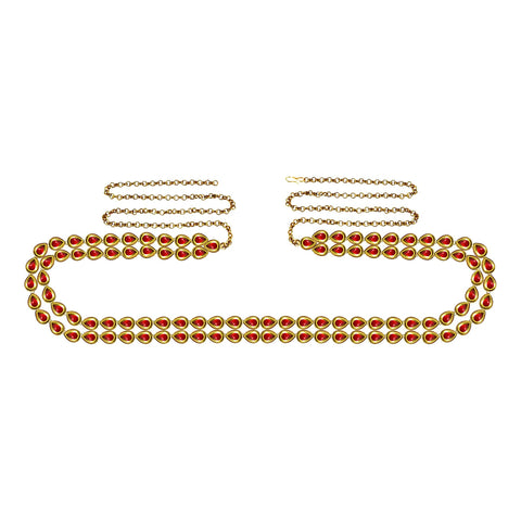 Red Color Brass Kunudun Stud-Gold Platted Waist Chain - bro1403