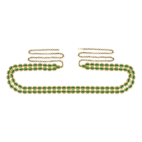 Green Color Brass Kunudun Stud-Gold Platted Waist Chain - bro1404