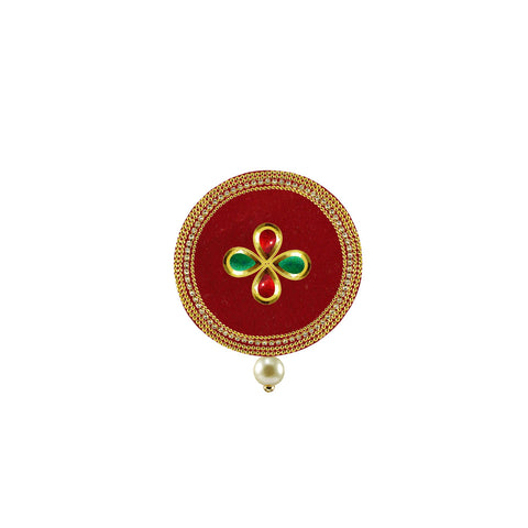 Red Color Brass Stone Stud-Gold Platted Brooch - bro1501