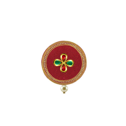 Red Color Brass Stone Stud-Gold Platted Brooch - bro1503