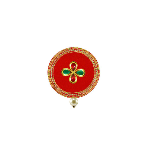 Red Color Brass Stone Stud-Gold Platted Brooch - bro1506