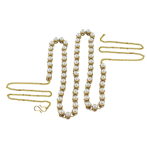 White Color Brass Moti-Gold Platted Waist Chain - bro151