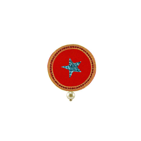 Red Color Brass Stone Stud-Gold Platted Brooch - bro1524