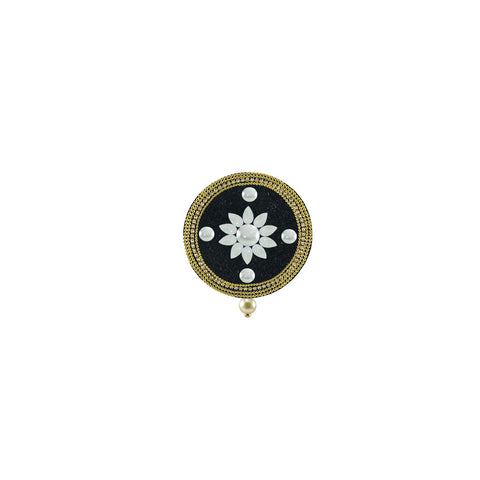 Black Color Brass Kunudan Stud-Gold Platted Brooch - bro1625
