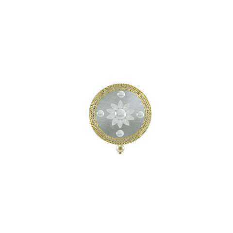 White Color Brass Kunudan Stud-Gold Platted Brooch - bro1632