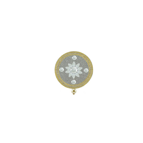 White Color Brass Kunudan Stud-Gold Platted Brooch - bro1636