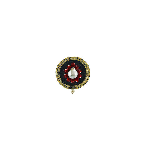 Black Color Brass Kunudan Stud-Gold Platted Brooch - bro1643