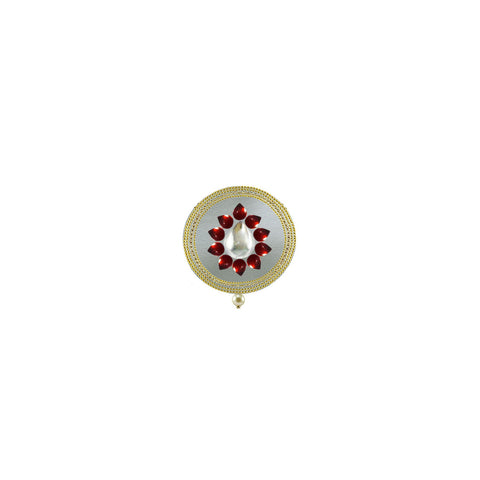 White Color Brass Kunudan Stud-Gold Platted Brooch - bro1650