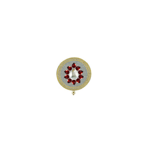 White Color Brass Kunudan Stud-Gold Platted Brooch - bro1652